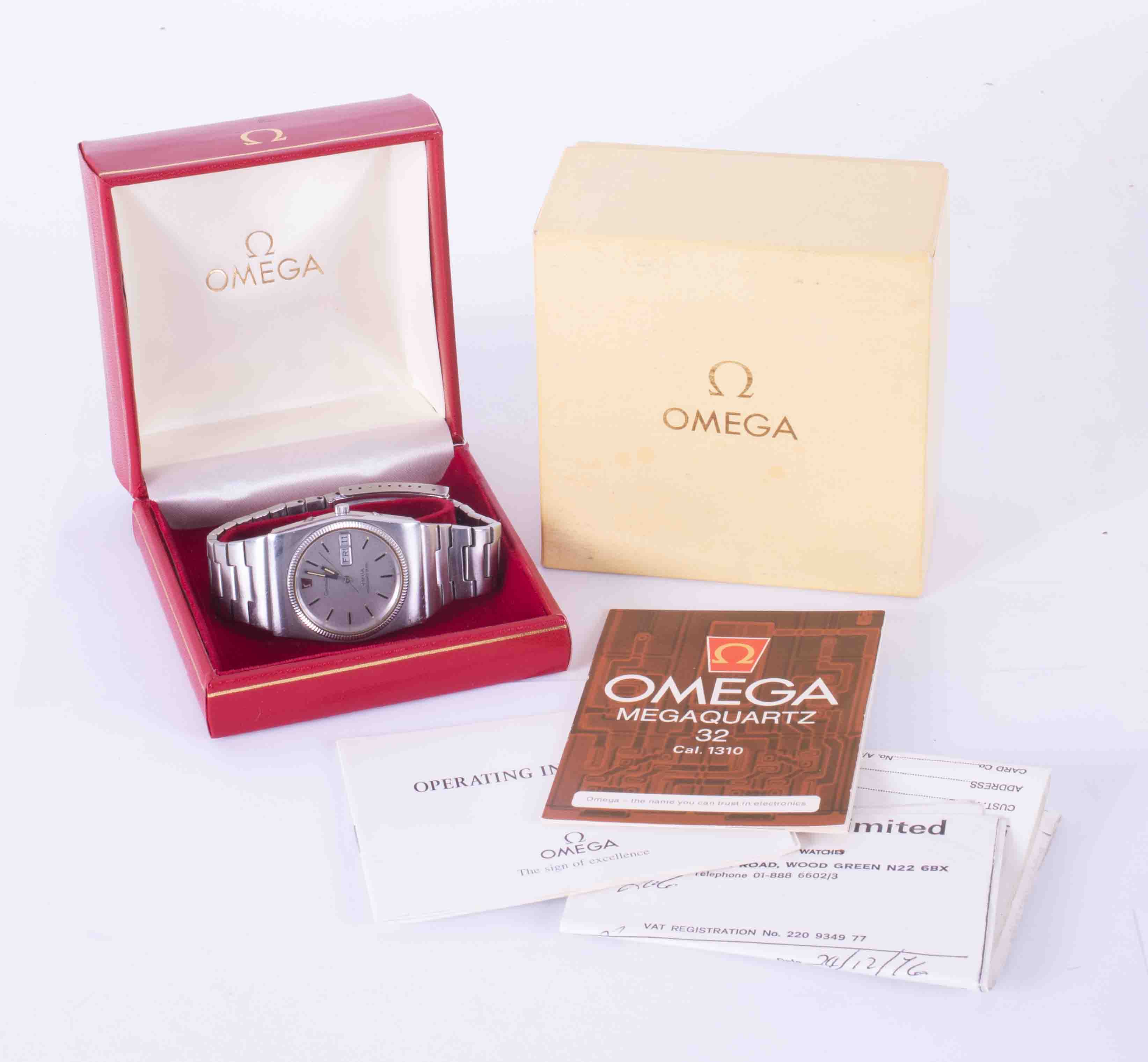 Omega, a gents stainless steel Constellation wristwatch, mega quartz, 196.0030, with original box, - Image 2 of 3