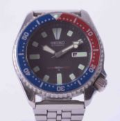 Seiko, a gents stainless steel Scuba Divers automatic wristwatch,150M with date aperture and Pepsi
