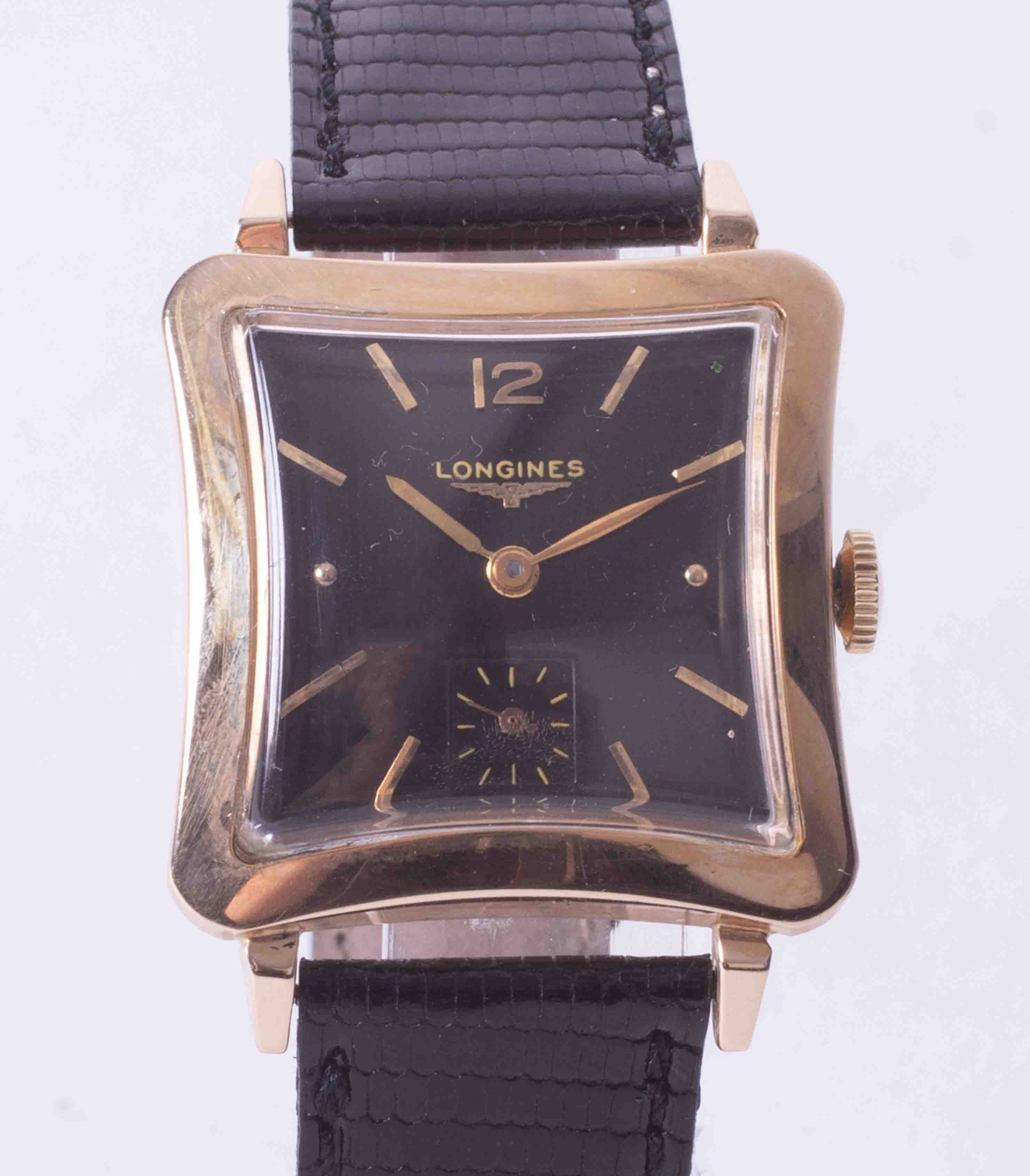 Longines, a gents curve shape square wrist watch, manual wind Longines movement with small sub