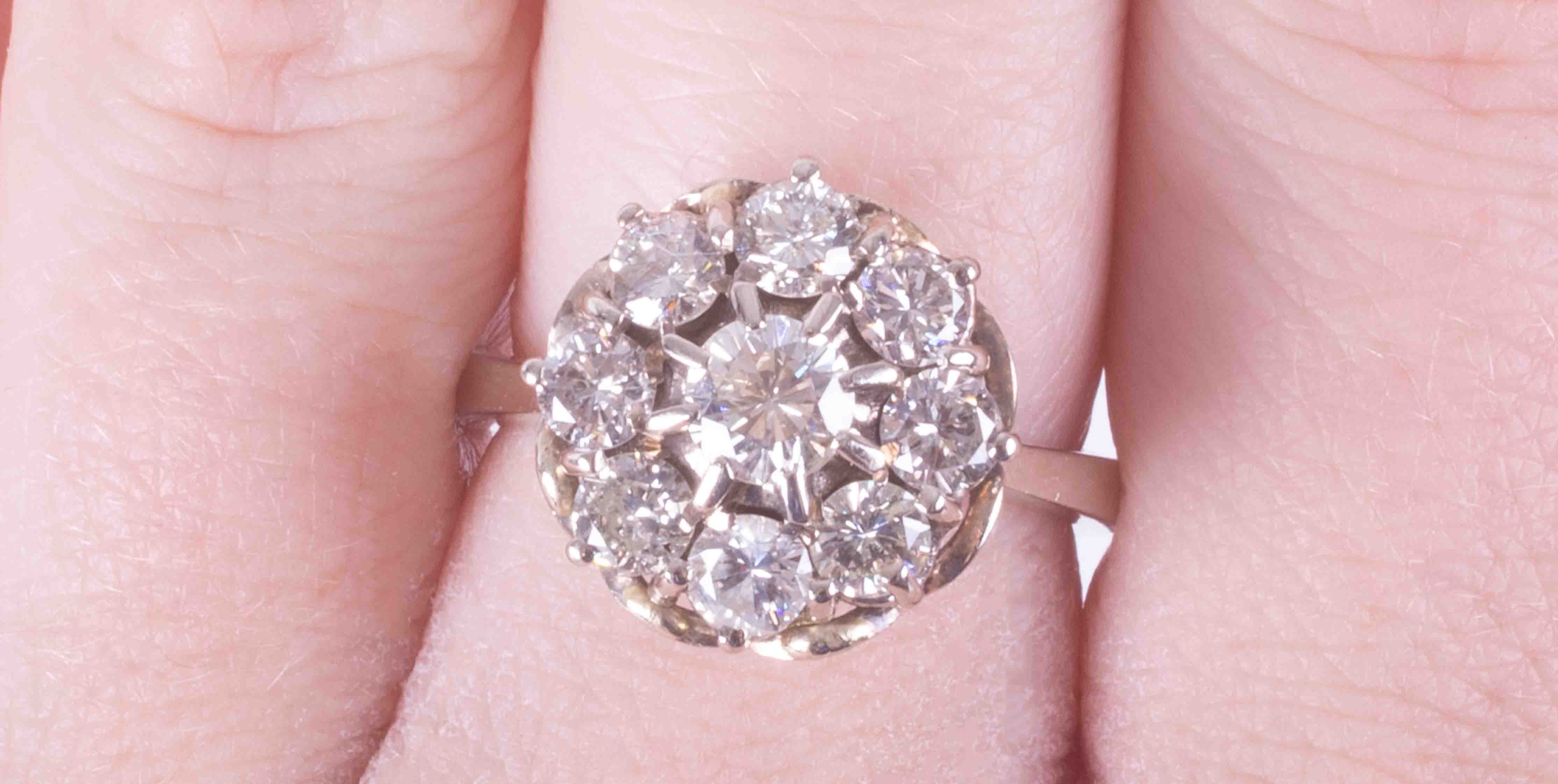 An 18ct white gold flower style cluster ring set approx. 1.80 carats of round brilliant cut - Image 2 of 2