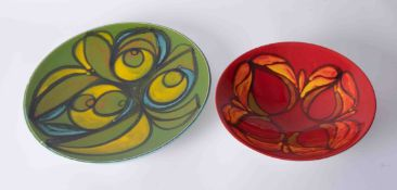 Two Poole pottery dishes, largest diameter 35cm (2).