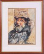 Robert Lenkiewicz (1941-2002) watercolour 'Cyril', signed, 29cm x 22cm, framed and glazed.
