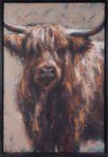 Katharine Lightfoot (b1972) 'Highland Cow' oil on canvas, 76cm x 51cm, framed.