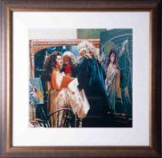 A print of an original photograph of Robert Lenkiewicz and Lisa in his studio, 49cm x 52cm, framed