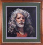 Robert Lenkiewicz (1941-2002) 'Self Portrait' signed limited edition print 12/450, 38cm x 38cm,