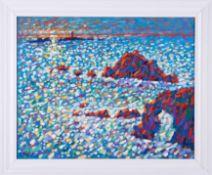 Paul Stephens, oil on board 'Lands End, Cornwall', 39cm x 50cm, framed. Description to the