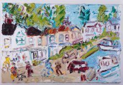 Sean Hayden (contemporary West Cornwall artist), oil on canvas 'Mylor Bridge, Summer 2021', 40cm x