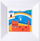 Arth Lawr, acrylic on board, 'The Lido Cat', 15cm x 15cm, signed, framed, consigned by the artist.