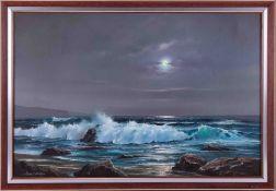 Peter Cosslett (b1927) signed oil on canvas 'Moonlight Coastal Scene', 49cm x 75cm, framed.