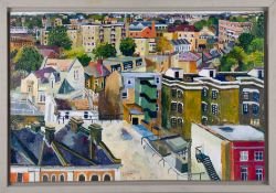 Nicholas Borden, oil on board 'View From St. Augustine's Tower, Hackney', 50cm x 76cm, framed.