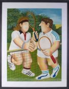 Beryl Cook (1926-2008) 'Anyone For Tennis', signed limited edition print 255/300, issued in 1990,