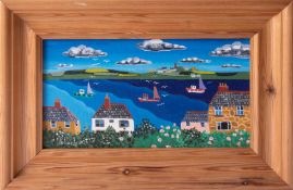 Brian Pollard, oil on board 'View To The Lizard', signed, titled to reverse, 12cm x 22cm, framed.