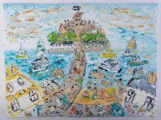 Sean Hayden (contemporary West Cornwall artist), oil on canvas 'St. Michaels Mount, Summer 2021',