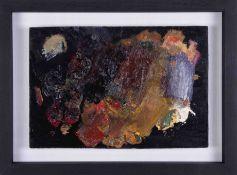 An original artist palette from the studio of Robert Lenkiewicz cleaned, restored and framed, 21cm x