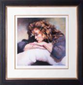 Robert Lenkiewicz (1941-2002) 'Study of Lisa' signed limited edition print 28/750, 36cm x 36cm,