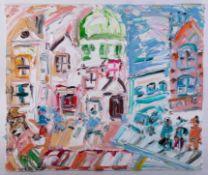 Sean Hayden (contemporary West Cornwall artist), oil on canvas 'Market Jew St, Penzance', 50cm x