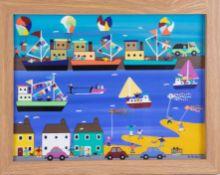 Gordon Barker (contemporary Devon artist), acrylic on paper, 'Celebration At The Harbour', 29cm x
