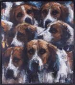 Katharine Lightfoot (b1972) 'Hounds' oil on canvas, 80cm x 70cm, framed.