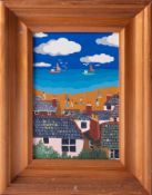Brian Pollard, oil on board 'Cornish Bay, May 87', signed, titled and dated to the reverse, 17cm x