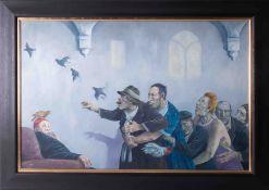 David Shanahan (modern British) oil 'Regret', signed, 48cm x 74cm, framed and glazed.