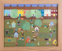 Gordon Barker (contemporary Devon artist), acrylic on paper, 'Busy Day At The Allotment', 29cm x