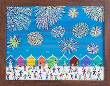 Gordon Barker (contemporary Devon artist), acrylic on paper, 'Fireworks Display On The Beach',