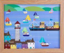 Gordon Barker (contemporary Devon artist), acrylic on paper, 'A Summers Day', 29cm x 39cm, framed