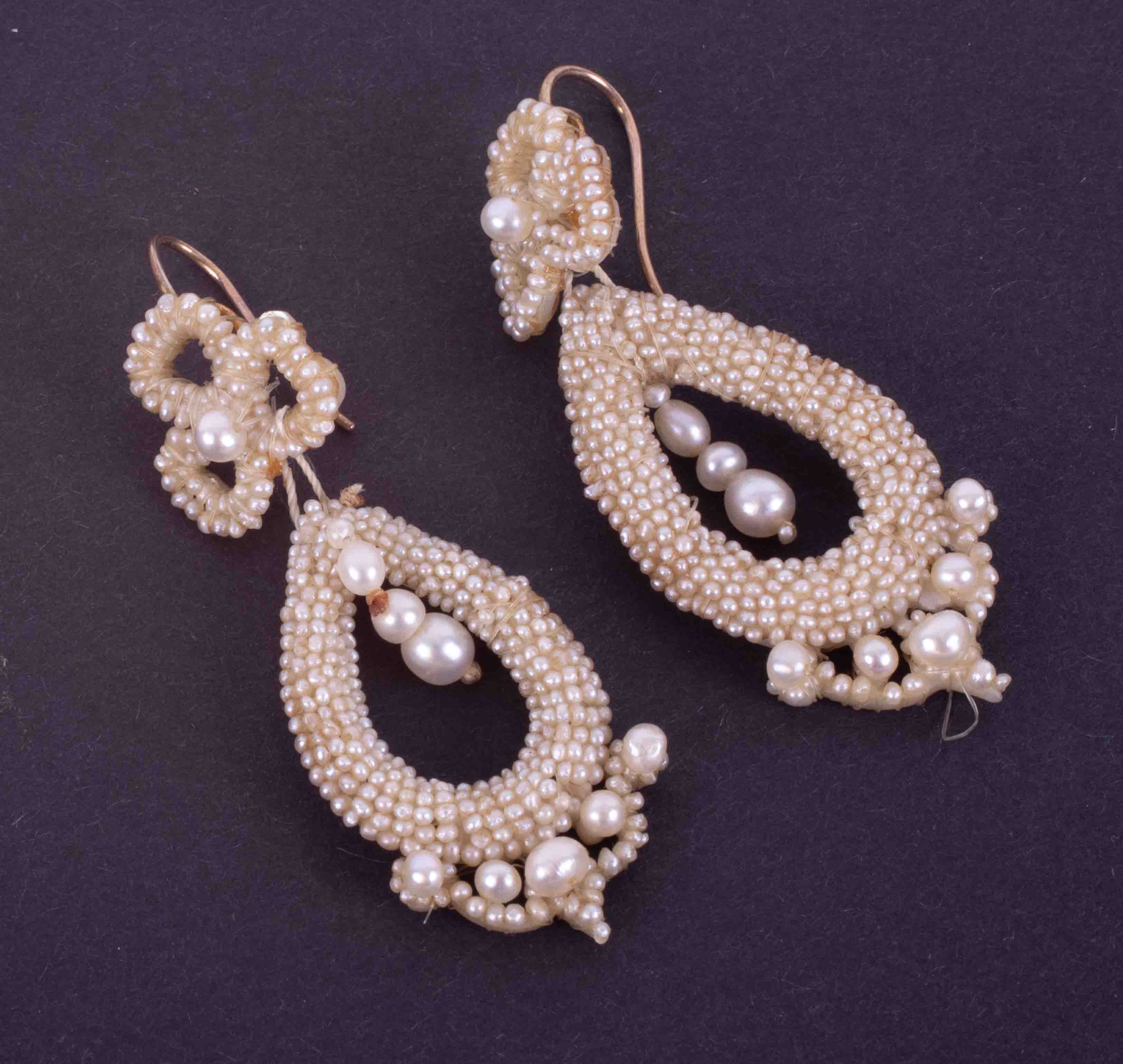 A pair of antique seed pearl and pearl drop earrings with hook fittings, 5.67g, length approx. 5.