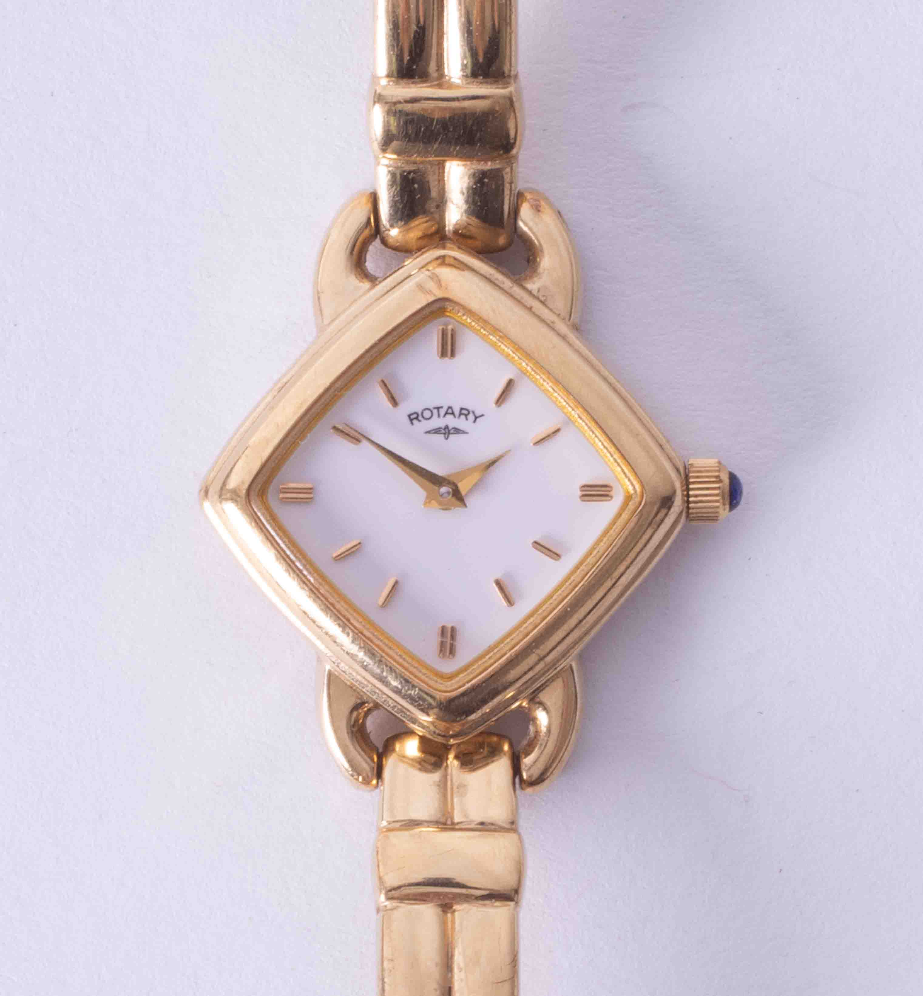 Rotary, a ladies gold plated 'Cuffs' wristwatch, with spare link, guarantee dated 28/08/1997,