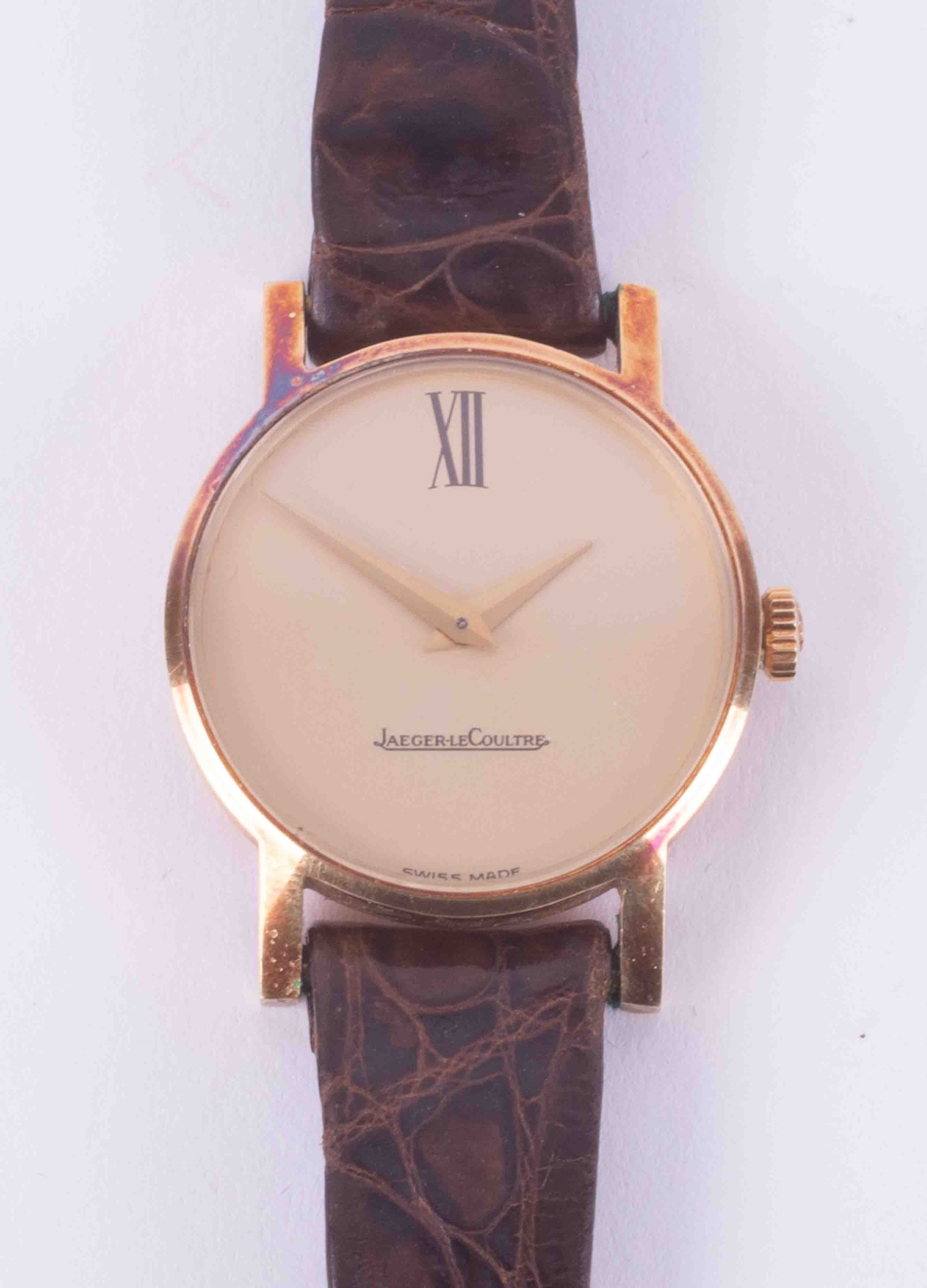 Jaeger-Le-Coultre, an 18ct yellow gold ladies manual wind wristwatch, numbers on back