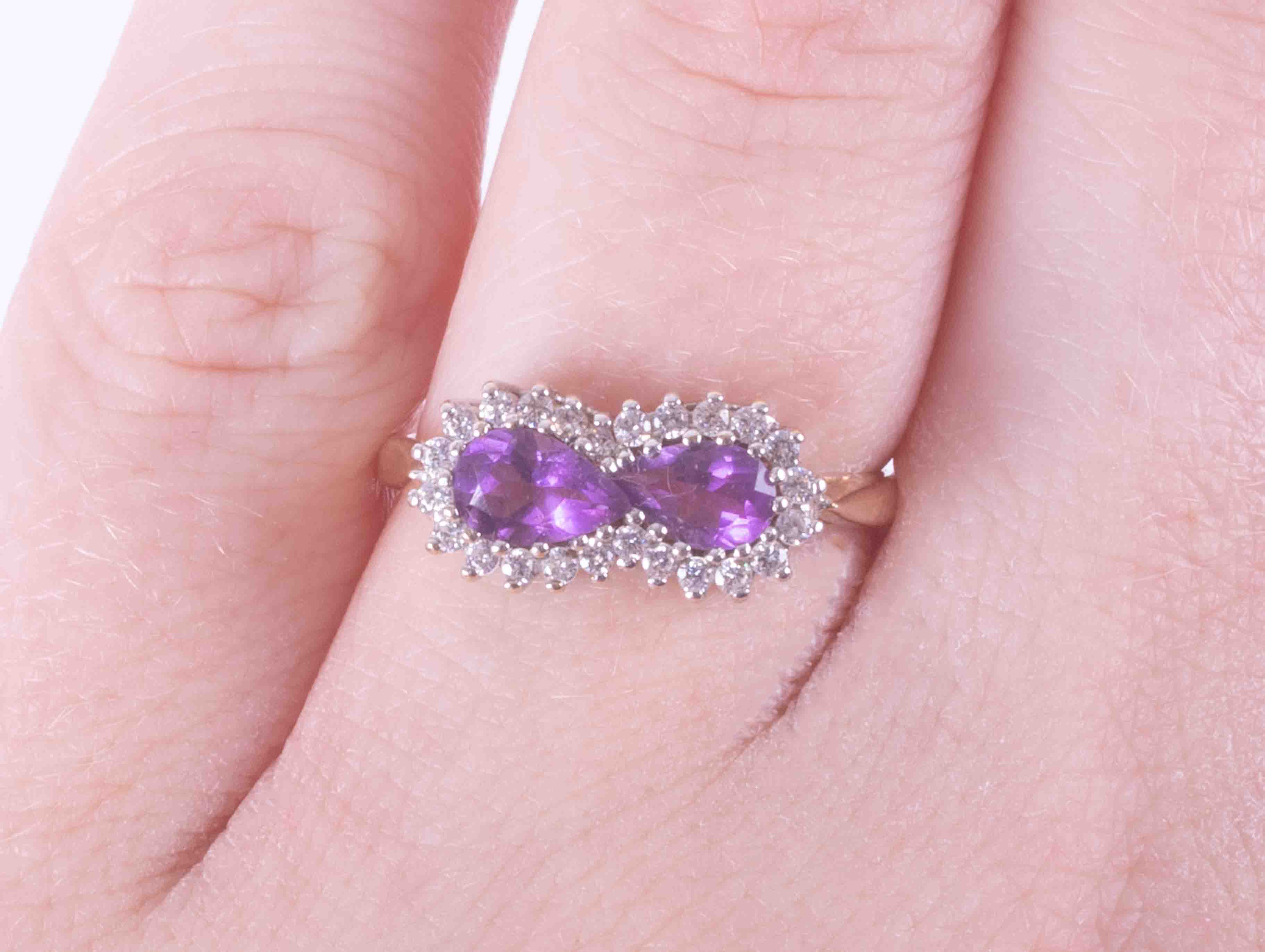A 9ct yellow & white gold cluster ring set two pear shaped amethysts weight approx. 0.85 carats - Image 2 of 2