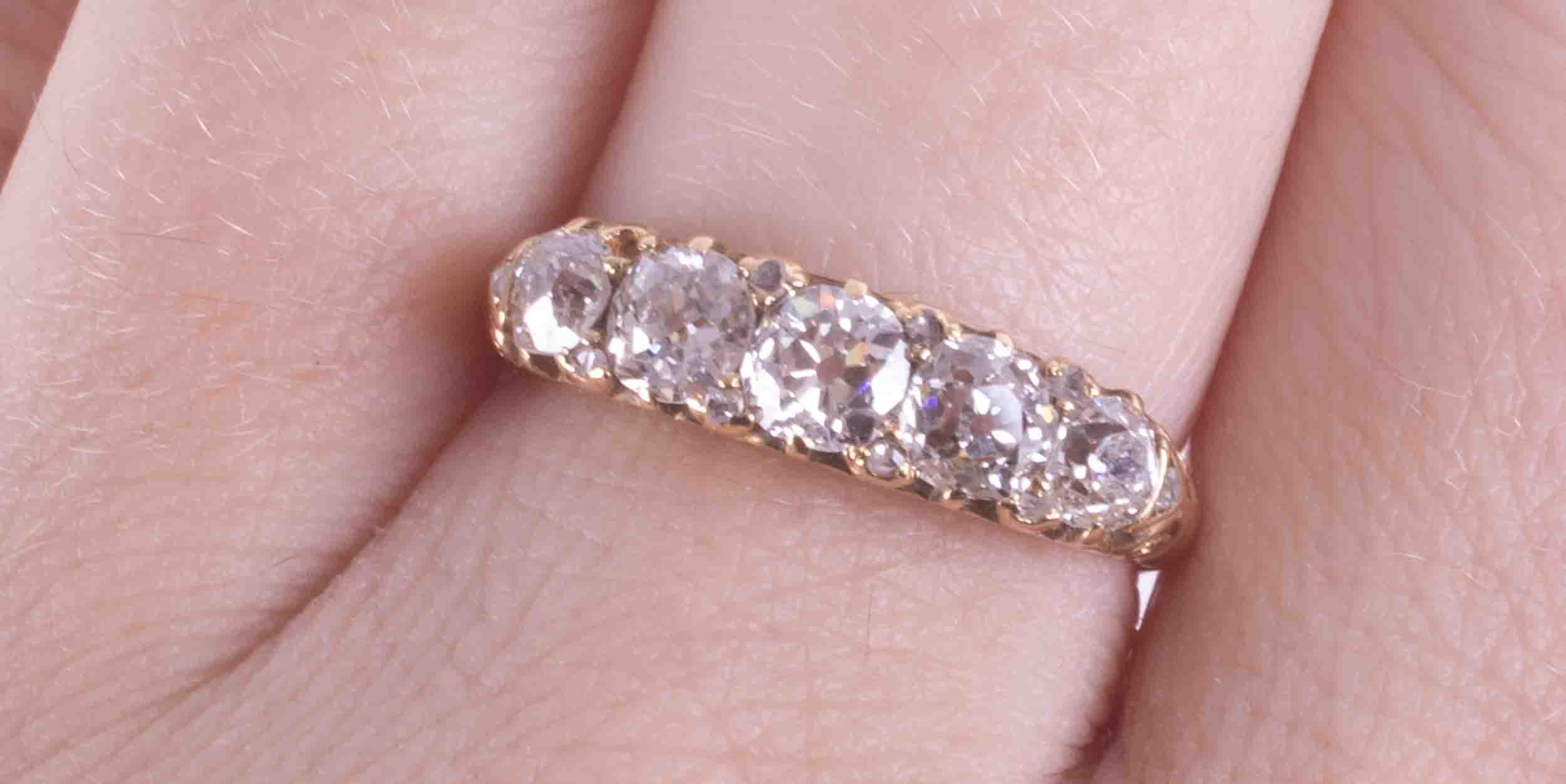 A Victorian 18ct yellow gold ring set with five old round cut diamonds, total weight approx. 1.58 - Image 2 of 2