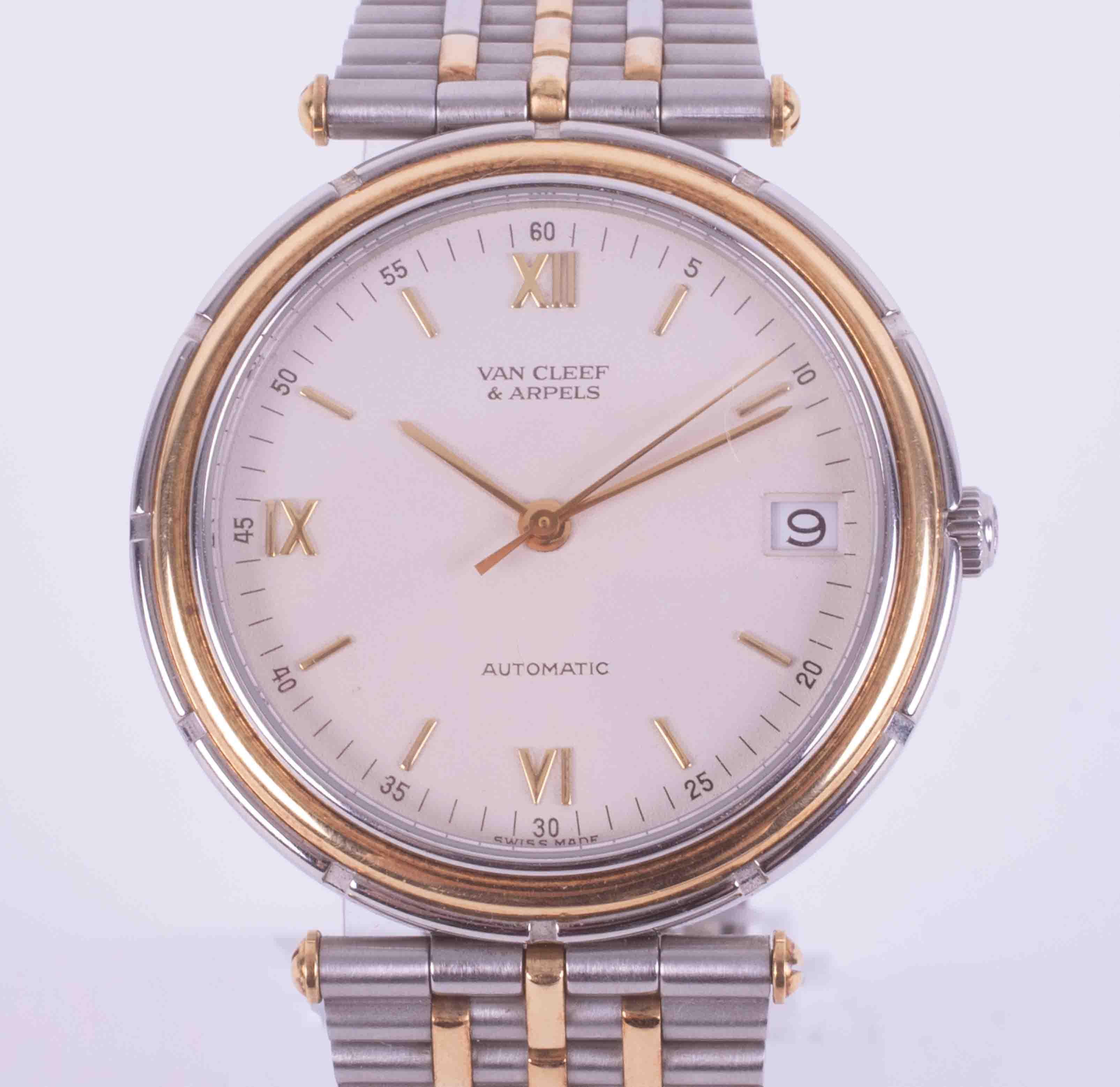 Van Cleef & Arpels (Paris), an 18ct and steel two tonne automatic date bracelet wristwatch, 'La