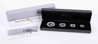 The Perth Mint, a 2016 Australian Kangaroo silver proof four coin set.