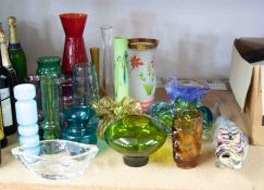 A collection of mixed glass to include Arthur Percy bottle vase, Murano large fish etc.