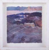 Nicola Tilley, 'Home Farm, 2008' watercolour, 21cm x 21cm, framed.