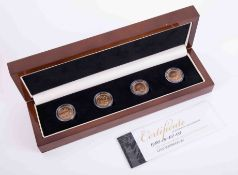 The London Mint British Empire gold four piece sovereign set 1900-1903, boxed with outer box.