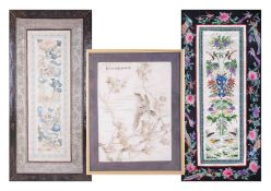 Three Oriental silk works, two framed, one as a scroll.