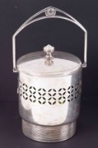 WMF, a silver plated biscuit barrel with green glass liner, swing handle and lid, height to finial