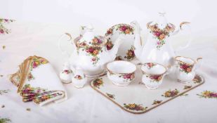 Royal Albert, Old Country Roses 8 setting service, to include teapot, coffee pot, place mats,
