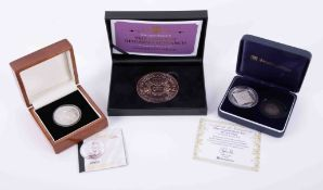 Brittania 2009 Tristan Da Cunha silver five pounds, Westminster Mint Elizabethan silver pair and