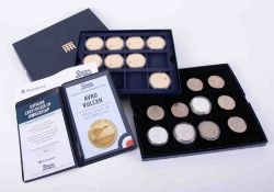 Westminster Mint, a collection of eight Royal Airforce crowns, 24ct gold plated, boxed with