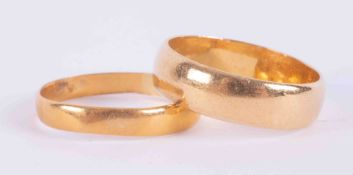 Two 22ct gold wedding bands, 6.1g.