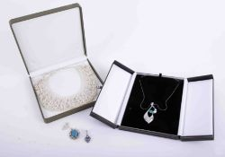 Modern silver pendants, a contemporary silver effect and turquoise pendant/necklace on fine chain