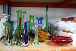 Collection of mixed glass including Whitefriars tear drop vases, pair of Whitefriars green vases and