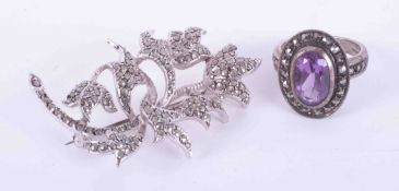 Silver marcasite brooch together with silver amethyst marcasite ring (2).