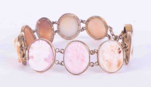 A yellow gold antique cameo bracelet set with ten cameo's, length 18cm, approx 19.80gms.