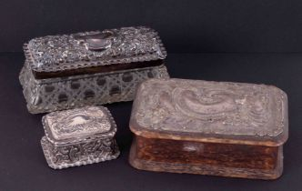 Three Antique silver trinket boxes including glass and wooden base (3).