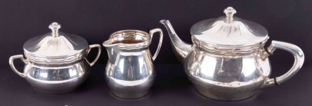 WMF, a silver plated and gilt lined three piece tea service.