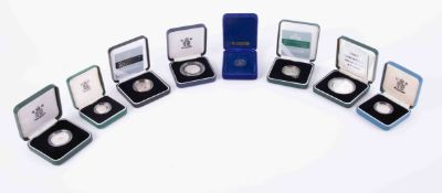 A collection of mainly Royal Mint proof silver two pound and one pound coins and also Pobjoy Mint